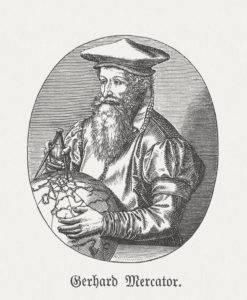 "Gerardus Mercator (1512 - 1594), cartographer, philosopher and mathematician. Woodcut engraving after an copper engraving by Frans Hogenberg (Dutch-German engraver, 1535 - 1590) from the book ""Die Welt in Bildern (The World in pictures)"" by Dr. Chr. G. Hottinger. Published by himself, 1881"